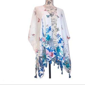Janice White Kimono With Blue Flowers